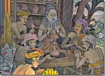 Ancient master potter with apprentices