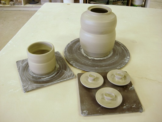Trial #2  cup, teapot body, and three lids
