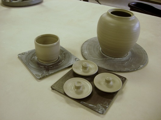 Trial #1 cup, teapot body, and three lids