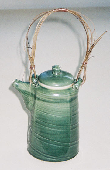 Porcelain teapot-Oribe glaze-bamboo & copper handle