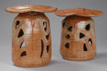 Two Shino Garden Lanterns